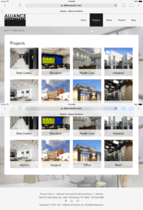 A screenshot of Alliance Architects website showing Projects Listing Mobile Page