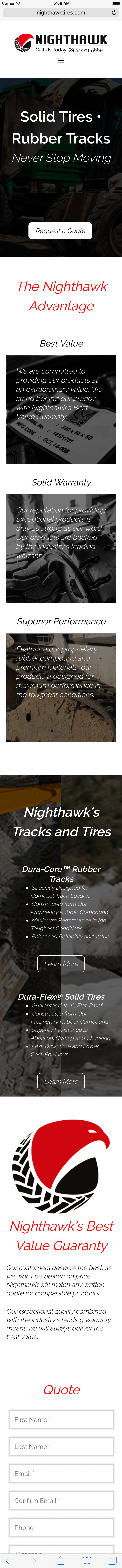 "A screenshot of Nighthawk website taken from a mobile with heading ""Solid Tires Rubber Tracks Never stop moving"""