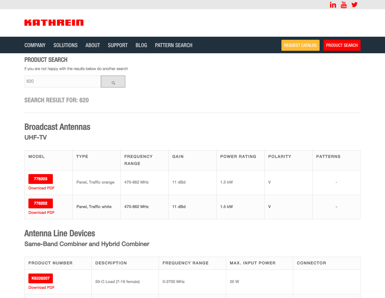 a screenshot of Kathrein website product search page