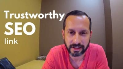 A photo of a man wearing pink with heading Trustworthy SEO link