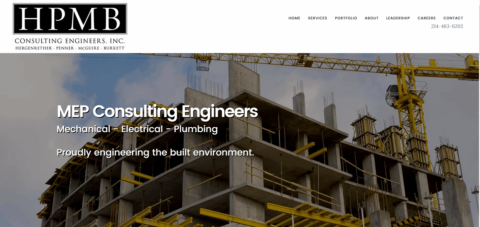 A screenshot of HPMB website showing a crane next to a building with heading MEP Consulting Engineers